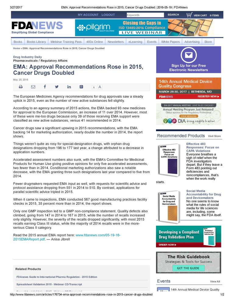 EMA_ Approval Recommendations Rose in 2015, Cancer Drugs Doubled _ 2016-05-19 _ FDANews