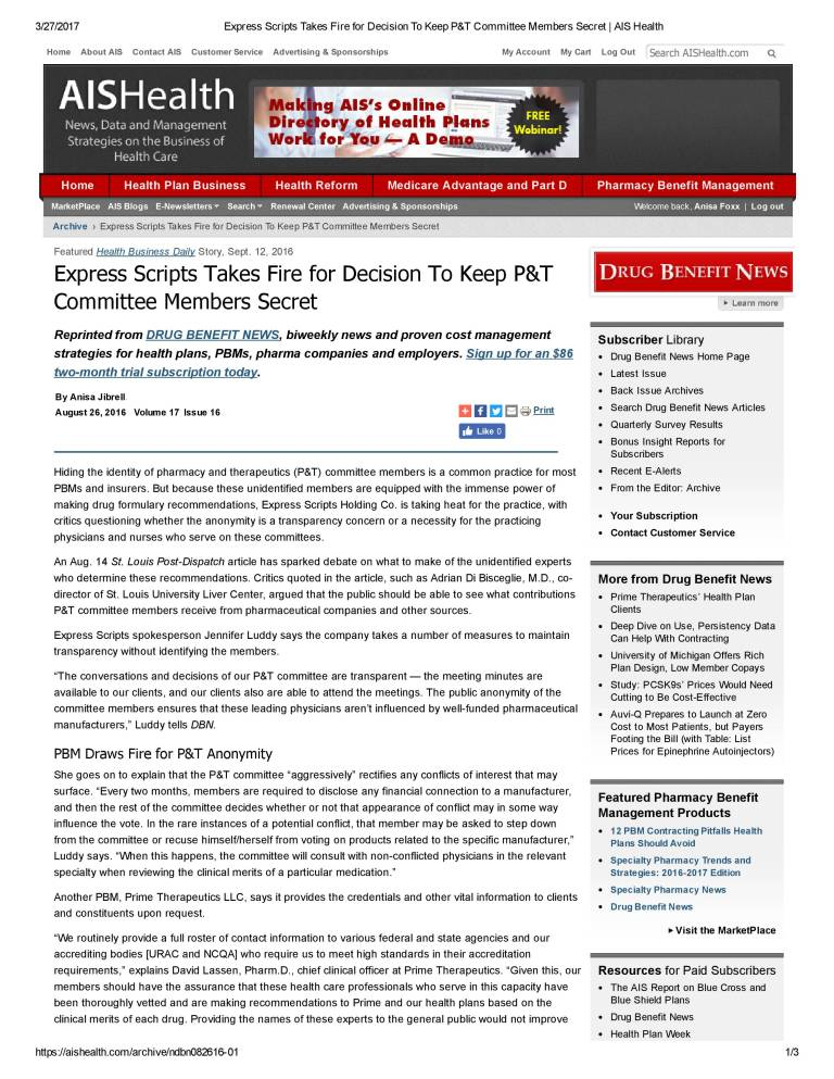 Express Scripts Takes Fire for Decision To Keep P&T Committee Members Secret _ AIS Health-1