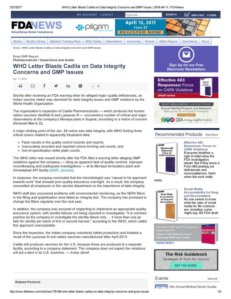 WHO Letter Blasts Cadila on Data Integrity Concerns and GMP Issues _ 2016-04-11 _ FDANews
